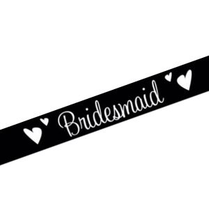 Hens Night Black Bridesmaid Satin Sash